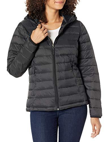 Amazon Essentials Women's Lightweight Long-Sleeve Full-Zip Water-Resistant Packable Hooded Puffer Jacket, Black, Medium
