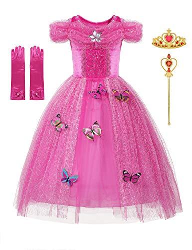 DOCHEER Little Girls Dresses Princess Fancy Ball Gowns Dress Costume Cosplay Pink