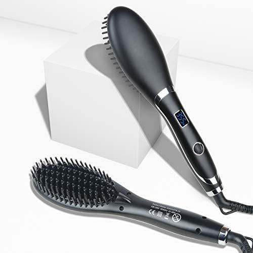 Veru ETERNITY Hair Straightening Brush, Ionic Ceramic Heat Brush with LED Display, Fast MCH Heated, Straightening Tangle &Frizz Hair and Beard