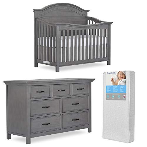 Evolur Belmar Curve 5 in 1 Convertible Crib & Double Dresser with Free 260 Coil Crib & Toddler Mattress (883/885-RG)