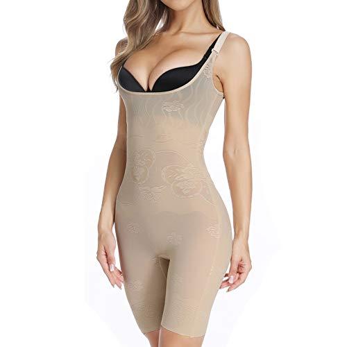 MISS MOLY Women's Body Shaper Open Bust Bodysuit Tummy Control Slimming Shapewear Beige