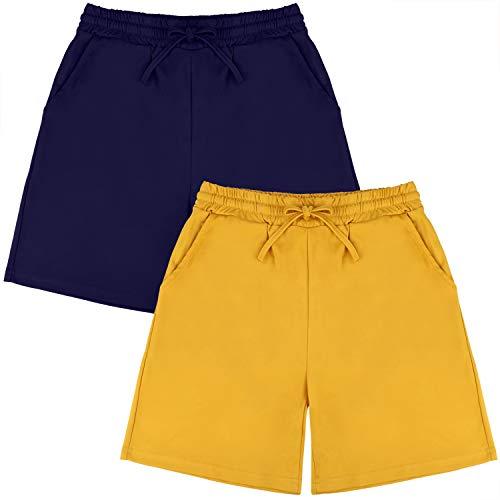 URATOT 2 Pack Women's Casual Short Pants Walking Fitness Elastic Waist Shorts with Pockets