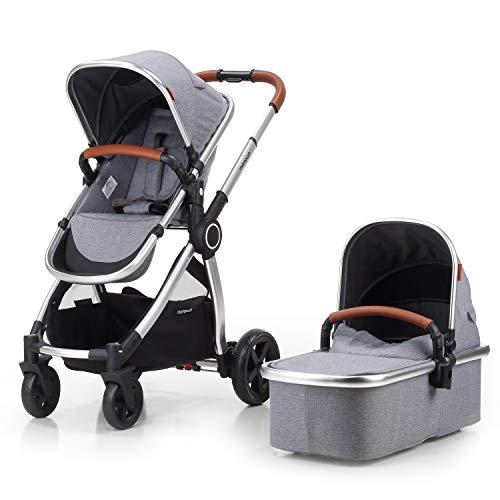 Mompush Full-Size Standard Stroller, One-Step Fold, Full Size Front or Rear Facing Toddler Seat, X-Large Easy-Access Basket, Sleek & Versatile (Silver)