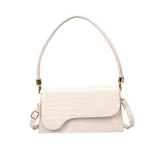 AMHDV Retro Classic Clutch Shoulder Bag Crocodile Pattern Small Crossbody Handbag for Women (03off-white)