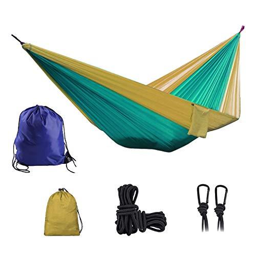 Camping Hammock Portable Lightweight Double & Single Nylon Hammock Best Parachute Hammock with 2 x Hanging Straps for Backpacking, Travel, Beach, Backyard, Patio, Hiking (Blackish Green & Light Tan)