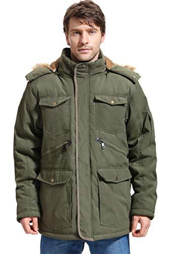Yozai Mens Winter Military Warm Jacket Fleece Coat with Detachable Fur Hood Outwear Army Green Large