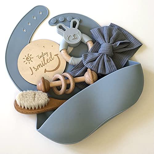 Natural Newborn Baby Gift Set - 6 Piece Set. BPA-Free Silicone Bib and Teether, Beechwood Rattle and Soft Brush, Cloth Headband and Milestone Photo Prop (Blue)