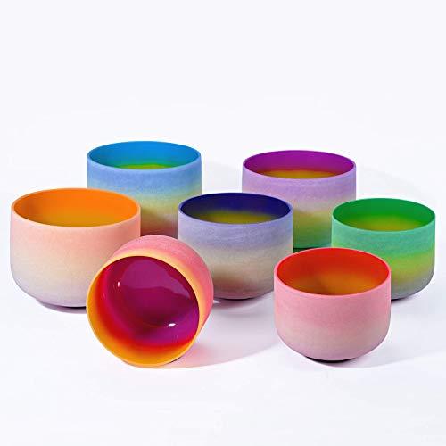 440HZ 6'-12' Set of 7 PCS Quartz Rainbow Crystal Singing Bowl Set Sound Healing