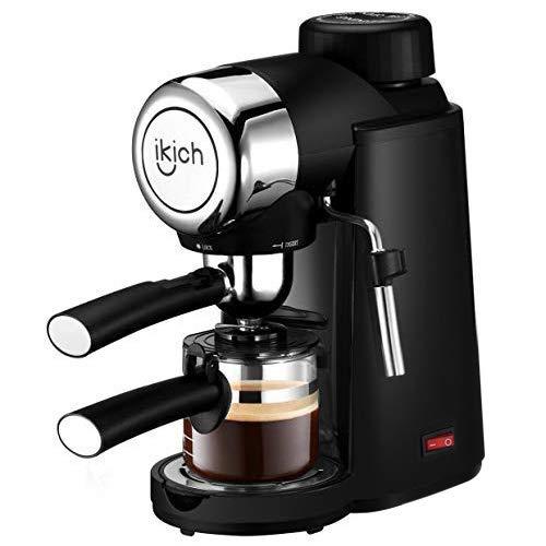 Espresso Machine, IKICH 3.5Bar 4Cup Espresso Coffee Maker with Spoon, Cappuccino Machine with Steam Milk Frother, Espresso Maker with Carafe, Black
