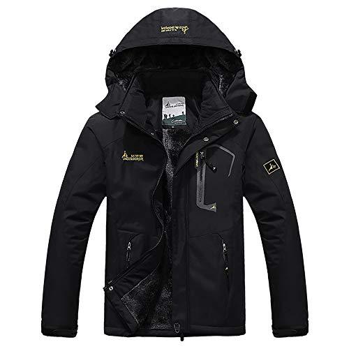 Men's Winter Coats Waterproof Mountain Ski Jacket Warm Snow Jacket Windproof Rain Jacket for Hiking Camping Outwear Black