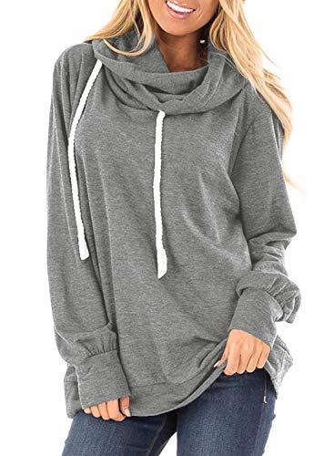 Womens Pullover Hoodies Turtleneck Drawstring Sweatshirt Loose Fit Tops Cozy Gray M