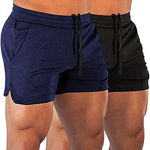 COOrun Men 2 Pack Sports Short Loose Fit Workout Shorts Athletic Running Fitness Short Elastic Waist Activewear Black/Navy Blue
