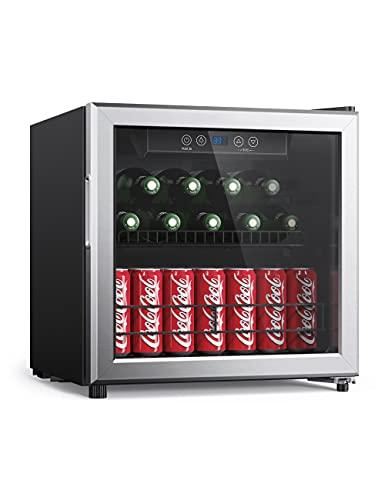 Beverage Refrigerator 65 Cans Beverage Cooler Triple-Layer Glass Door Freestanding 1.6 cu. ft. Bar Fridge with LED Display Digital Control Mini Beverage for Soft Drink Beer Soda Home Office