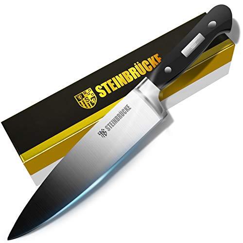 STEINBRÜCKE Chef Knife 8 inch, Kitchen Knife,German 5Cr15Mov Stainless Steel Blade, Length-8', Thickness-1/8', HRC58 Sharp Dishwasher Safe Solid for Home Kitchen, Hand Polished