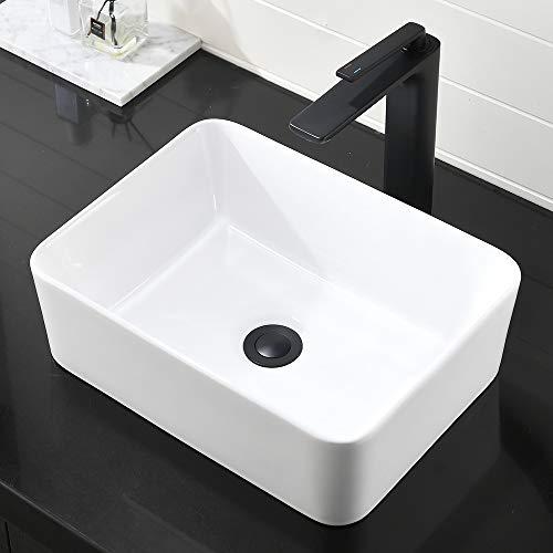 Rectangle Bathroom Sink White-SOMRXO19'X15' Above Counter Bathroom Vessel Sink White Porcelain Ceramic Bathroom Vessel Vanity Sink Art Basin