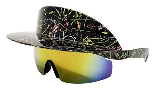 Funny Guy Mugs Polarized Visor Sunglasses - Paint Splatter - Premium 80s & 90s Retro Sunglasses