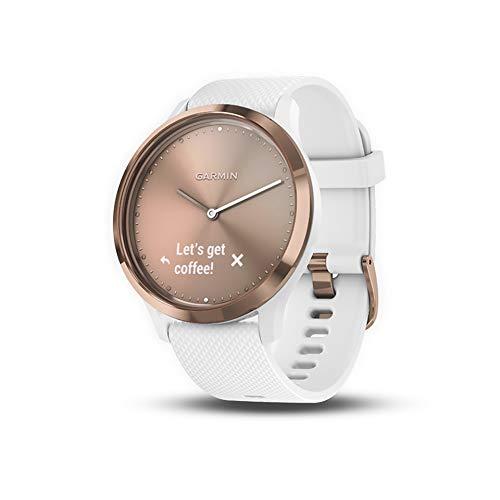 Garmin 010-01850-12 vívomove HR, Hybrid Smartwatch for Men and Women, White/Rose Gold, Small/Medium