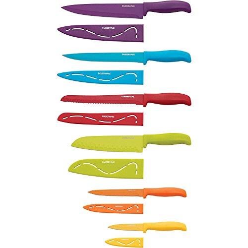 Farberware 5183157 12-Piece Non-Stick Resin Cutlery Knife Set, Multicolor
