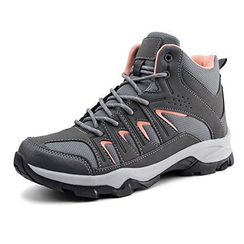 JABASIC Womens Mid Hiking Boots Lightweight Waterproof Outdoor Trekking Shoes (8,Grey/Pink)