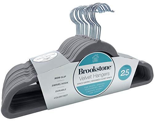 Brookstone BKH1125 Non-Slip, 360° Swivel Hook, Lightweight & Slim, Strong & Durable, Space Saving Design, Heavy Duty, Won't Stain Fabric, 25 Pack Velvet Hangers/Gray, 25 Count