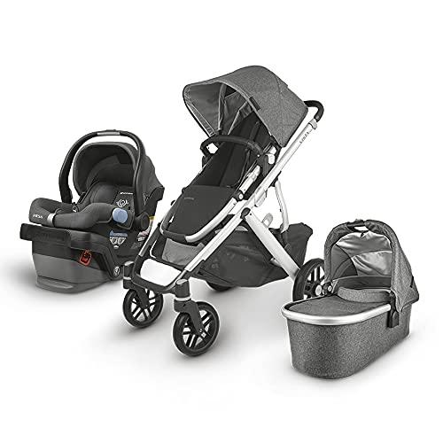 UPPAbaby Vista V2 Stroller - Jordan (Charcoal Melange/Silver/Black Leather) + Mesa Infant Car Seat - Jordan (Charcoal Melange) Merino Wool