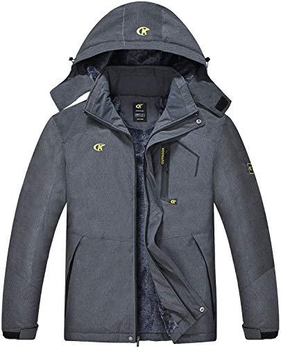 QPNGRP Mens Waterproof Ski Snowboard Jacket Windproof Winter Mountain Snow Coat Darkgray X-Large