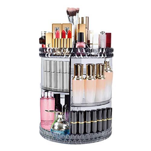 DreamGenius Makeup Organizer 360-Degree Rotating Adjustable Multi-Function Acrylic Cosmetic Storage, Black Transparent