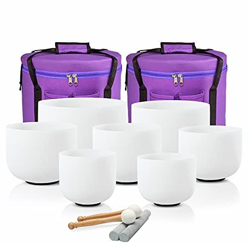 CVNC 432HZ 6-12 Inch Set Of 7 PCS Frosted Chakra Quartz Crystal Singing Bowls For Sound Healing Free 2 PCS Travel Carry Case Bag