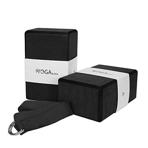 JBM Yoga Block Plus Strap with Metal D-Ring Yoga Brick Cork Yoga Block 6 Colors - High Density EVA Foam Yoga Block to Support and Deepen Poses