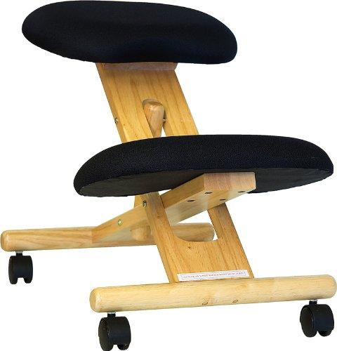 Flash Furniture Mobile Wooden Ergonomic Kneeling Office Chair in Black Fabric, BIFMA Certified