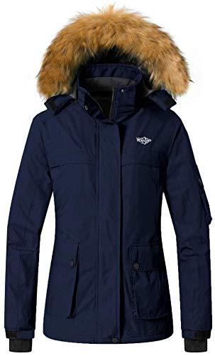 Wantdo Women's Snow Jacket Hooded Cotton Padded Winter Windbreaker Dark Blue S