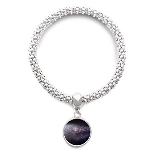 DIYthinker Elliptical Cosmic Nebula Universe Pattern Sliver Bracelet Round Pendant Jewelry Chain