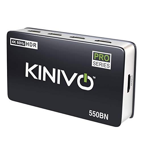 Kinivo 550BN 4K HDMI Switch with IR Wireless Remote (5 Port, 4K 60Hz HDR, HDMI 2.0, High Speed-18Gbps, Auto-Switching)