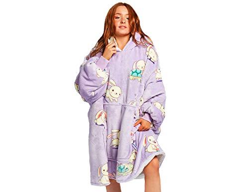 The Oodie Wearable Sherpa Blanket Hoodie - Cozy & Warm Oversized Fleece Hooded Blanket with Large Front Pocket - Thick Plush Blanket Sweatshirt for Men & Women (Rabbit Oodie)