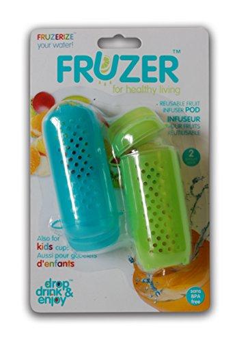 FRUZER Reusable Fruit Infuser Pods, Flushes Toxins, Improves Digestion, Fits ALL Reusable and Disposable Bottles, 2 Pack