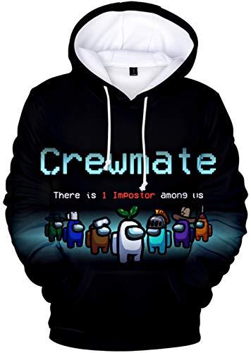 Among Us 3D Printing Hoodie Teens Impostor Crewmate Casual Sweatshirt Long Sleeve With Pockets (A, X-Large)