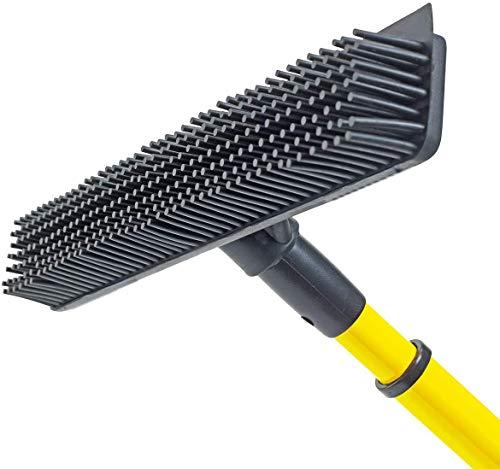 ALL IN ONE! Rubber Broom - Heavy Duty Floor Squeegees, Sweeps & Scrubs w/Telescoping handle
