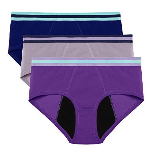 Intimate Portal Women Period Panties Underwear Leak Proof Menstruation Brief 3 Pack Blue Gray Purple M