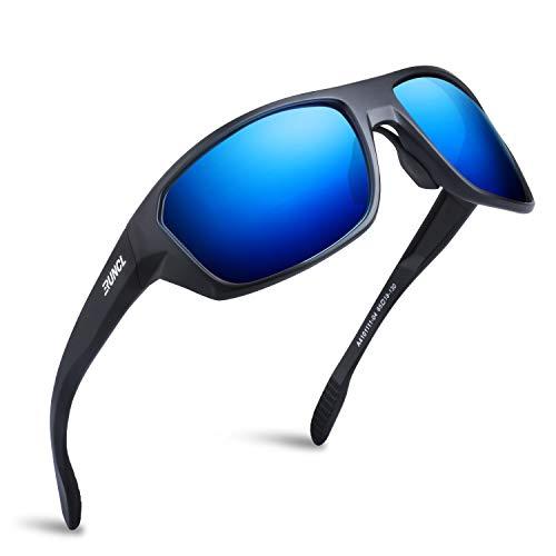 RUNCL Polarized Sports Sunglasses Cleon Fishing Cycling(Matte Black/Blue Mirror)