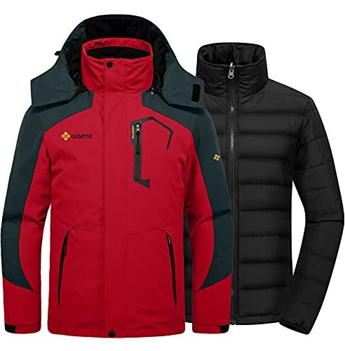 GEMYSE Men's Waterproof 3-in-1 Ski Snow Jacket Puffer Liner Insulated Winter Coat (Oriental Red,Medium)