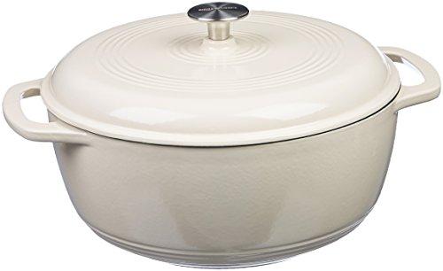 Amazon Basics Enameled Cast Iron Covered Dutch Oven, 6-Quart, White