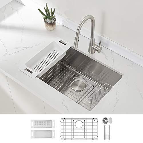 Modena Undermount Kitchen Sink Set, 16-Gauge Stainless Steel (28-Inch Single Bowl)