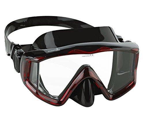 Phantom Aquatics Panoramic Scuba Snorkeling Dive Mask, Black/Red