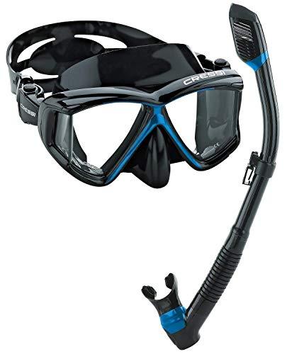 Cressi Italian Designed Liberty Quattro Metallic Panoramic View Tempered Glass Lens Premium Scuba Snorkeling Dive Mask Dry Snorkel Set (Black/Blue)