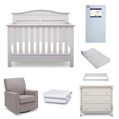 Serta Barrett 7-Piece Nursery Furniture Set - Convertible Crib, Dresser, Changing Top, Changing Pad, Crib Mattress, Glider, Crib Sheets - Bianca White