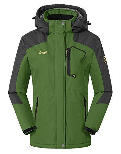 YSENTO Womens Waterproof Ski Jacket Winter Fleece Outdoor Mountain Jacket and Coat with Hood Green Size XL