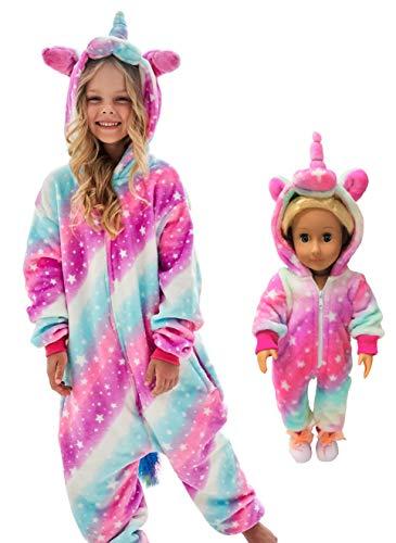 Unicorn Onesie Costume Matching Doll & Girls Gifts (Soft rose starlight, 3-4 Years)