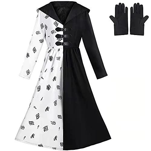 Halloween Cruella Costume, Cruella Deville Fancy Dress Costume, Halloween Costume for Girls, Women, Adult Cosplay Costume Dress with Gloves, Black and White