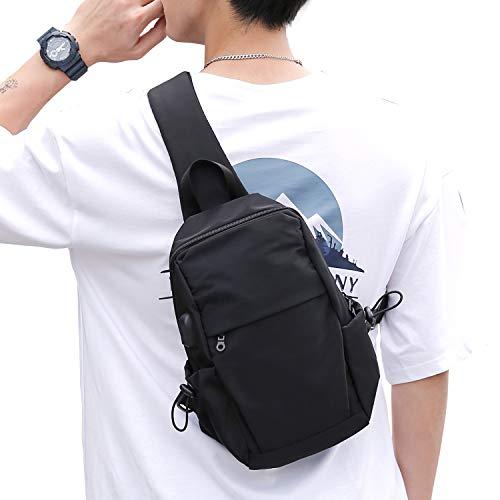 Small Black Sling Crossbody Backpack Shoulder Bag for Men Women, Lightweight One Strap Backpack Sling Bag Backpack for Hiking Walking Biking Travel Cycling USB Charger Port-Nylon