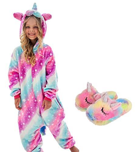 Girls Unicorn Pajamas Onesie with Unicorn Slippers (Softrosestarlight, 7-8Years)